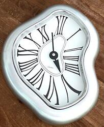 "Verichron Salvador Dali | Melting Wall Clock 13.5"" Brushed Aluminum Works Great!"