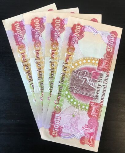 100,000 IQD - (4) 25,000 IRAQI DINAR Currency Notes - AUTHENTIC - FAST DELIVERY