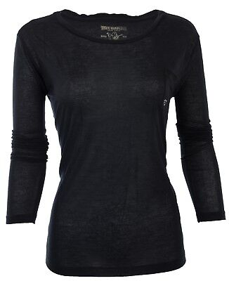 TRUE RELIGION Womens LS T-Shirt BLACK Rhinestones Horseshoe Pocket $68 Jeans NWT