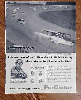 1956 Purolator Oil Filter Ad  Nascar Stock Car Auto Racing Theme