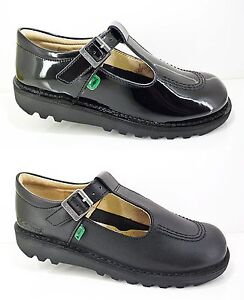 Girls-KICKERS-Shoes-Black-Leather-School-Patent-Strap-New-T-Bar-Casual-Size-7-6
