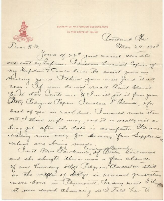 1908 SOCIETY OF MAYFLOWER DESCENDANTS MAINE GENEALOGY CORRESPONDENCE DOTEN DOTY