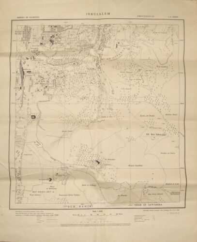 1938 Survey of Palestine Israel JERUSALEM South East Map LARGE