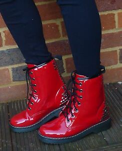 BNIB-WOMENS-DM-STYLE-STUD-RED-CHELSEA-BIKER-BOOTS-SHOES-PATENT-SIZE-3-4-5-6-7-8