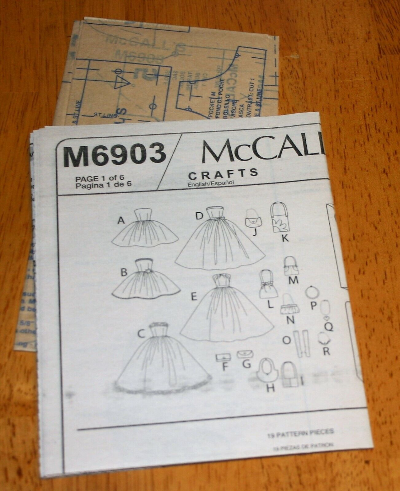 McCalls Pattern 6903 FASHION DOLL CLOTHES, ACCESSORIES BOX - 11.5 NEW - $4.29