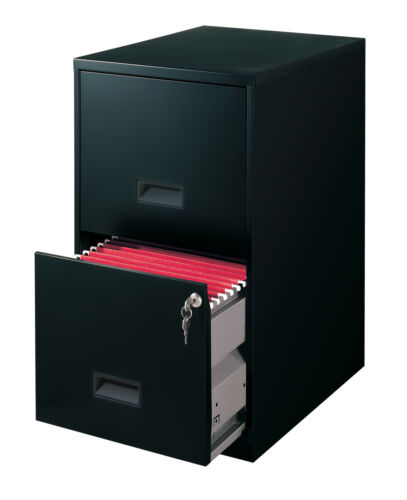 """Space Solutions 18"""" 2 Drawer Metal File Cabinet, Black"""