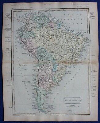 SOUTH AMERICA, original antique atlas map, Butler, 1860