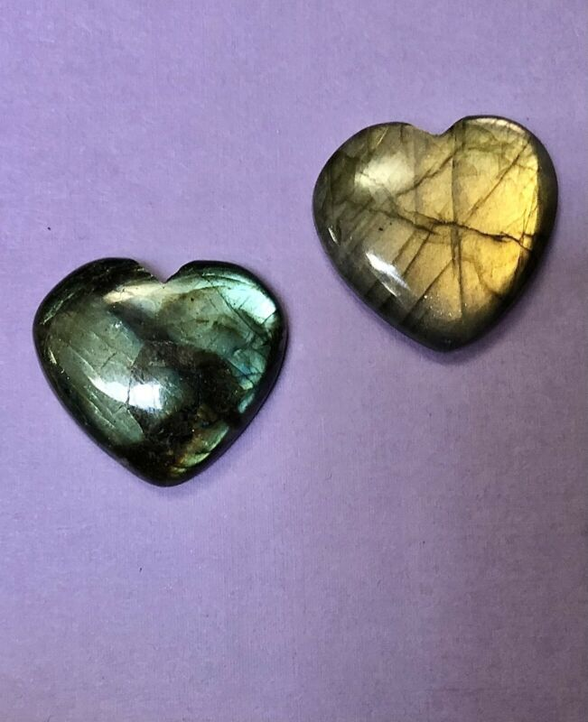 2 Unset Heart Shape Labradorite Loose Gemstone Cabochons 28x25mm