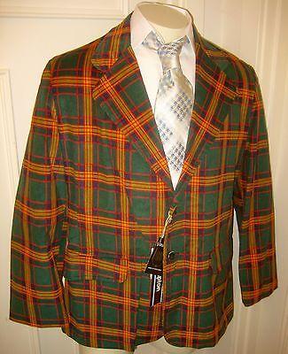 NEW Vtg 70s Green PLAID Cord CORDUROY Mens 42 Christmas Suit Coat Jacket Blazer