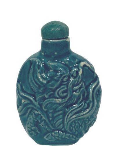 Vintage Snuff Bottle Porcelain Molded Chinese Dragon Design