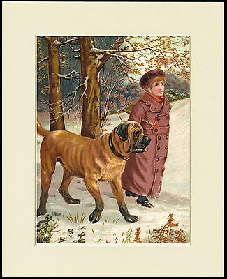 MASTIFF AND BOY IN THE SNOW CHARMING DOG PRINT MOUNTED READY TO FRAME