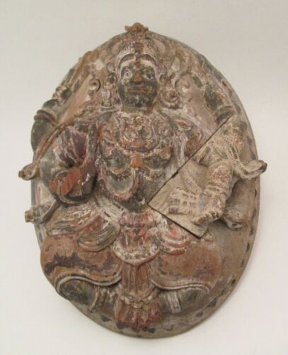 Antique Hindu Vishnu with Cobras Polychrome Carving