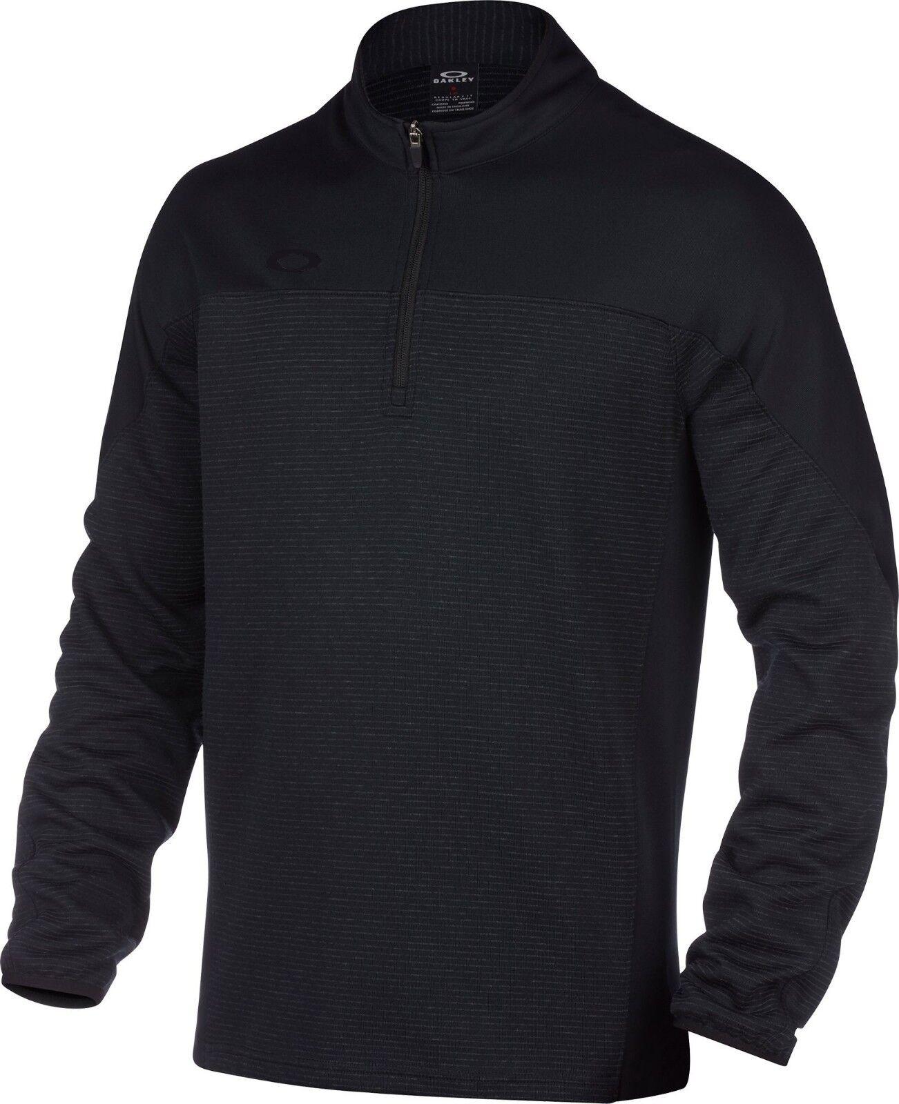 Oakley Men's Gridlock Pullover Quarter Zip Sweater Black Siz