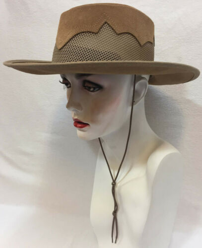 Cowboy Hat Leather Brown Tan Mesh Size Medium USA Cool 50 UPF Waterproof Strap