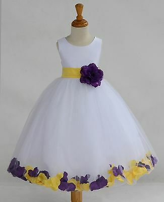 WHITE FLOWER GIRL DRESS CHRISTMAS PAGEANT PARTY MIX COLOR S M 2 4 6 8 10 12 14  - White Christmas Dress
