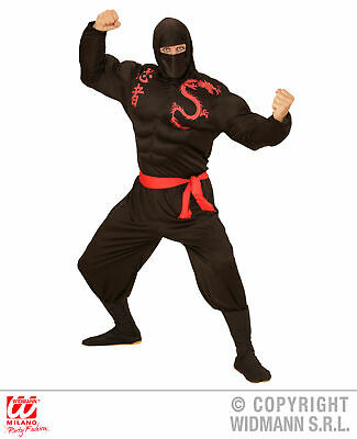 4 tlg. Ninja Kostüm, Samurai, rot schwarz m. Muskelshirt Herren