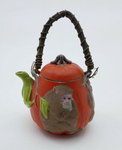 ANTIQUE JAPANESE BANKO WARE POTTERY TEA POT PUMPKIN SHAPE W/ EMBOSSED MONKEY