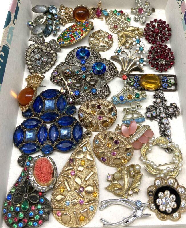 VINTAGE Broken Costume Jewelry Rhinestone Repair Lot Art Craft Harvest Repurpose