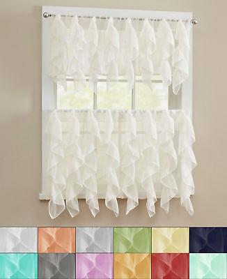 "Sheer Voile Vertical Ruffle Window Kitchen Curtain 24"" Tiers & Valance Set"