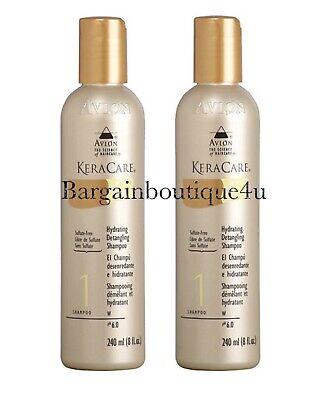 Avlon Keracare Hydrating Detangling Shampoo 8 oz (Pack of 2) Sulfate Free Hydrating Detangling Shampoo