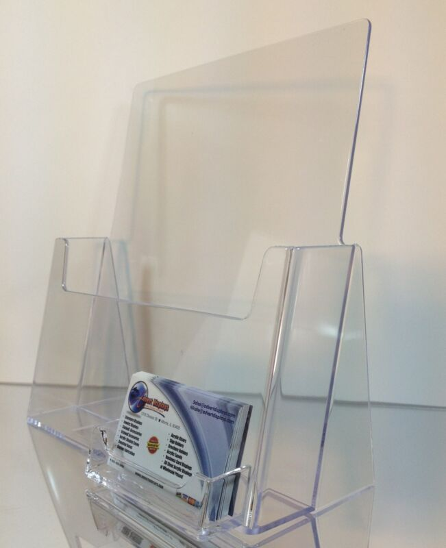 10 Full Page 8.5 x 11  Clear Acrylic Brochure Holders with Business Card Holder