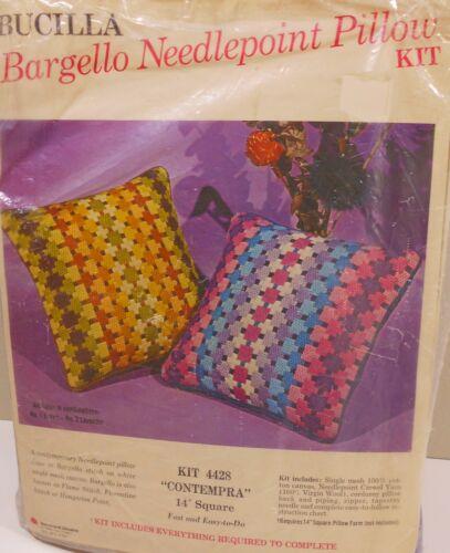 "NIP Vtg Bucilla Needlepoint Kit #4428  BARGELLO CONTEMRA  14"" Pillow Aqua/Pink"