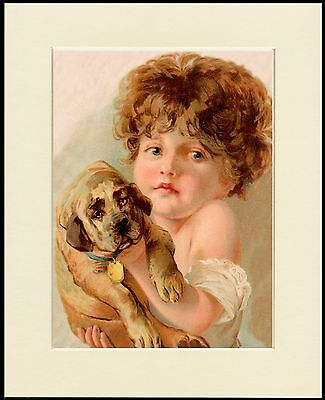 LITTLE GIRL HOLDING MASTIFF PUPPY LOVELY DOG PRINT MOUNTED READY TO FRAME