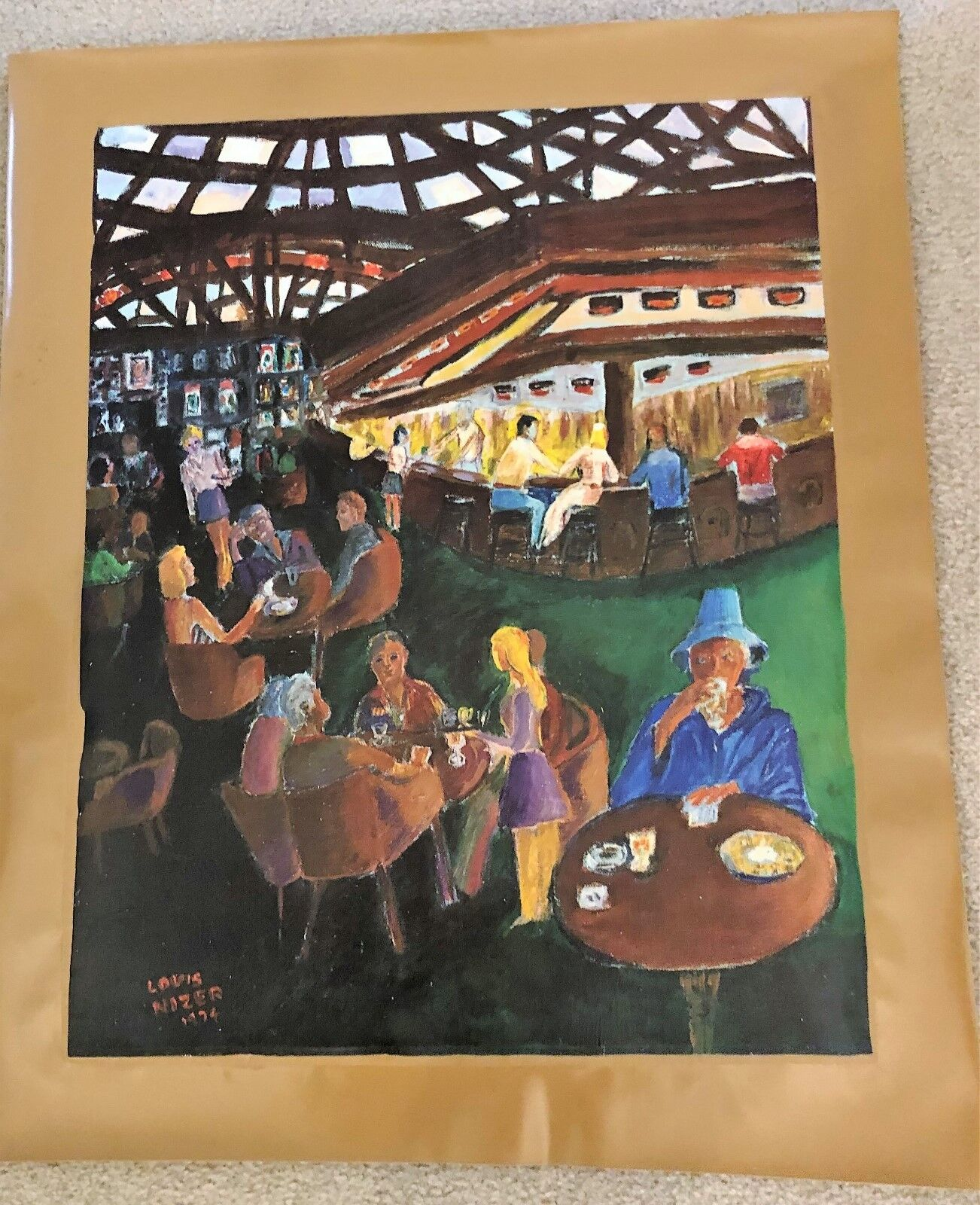 AUTHENTIC ARTAGRAPH OIL PAINTING A BAR SCENE BY LOU NIZER SIGNED 58 / 700  - $15.00