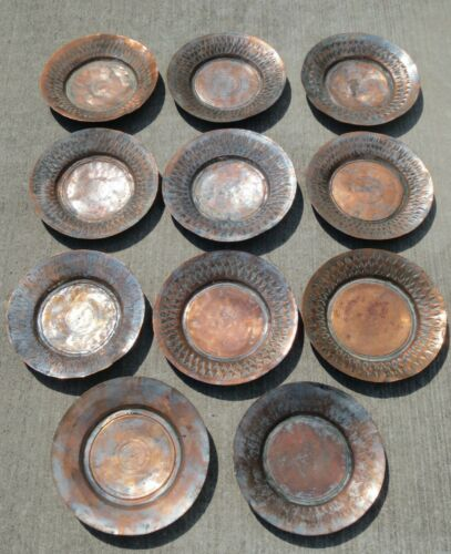"""Antique Hand Wrought 11.5"""" Hammered Copper Silver Plate Charger Plates Set Of 11"""