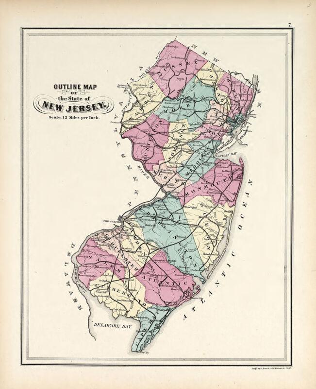 1873 NEW JERSEY plat maps GENEALOGY Atlas GREENVILLE LAND OWNERSHIP DVD