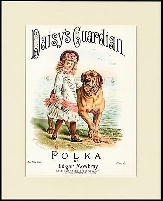 MASTIFF SHEET MUSIC PRINT LITTLE GIRL AND DOG MOUNTED READY TO FRAME