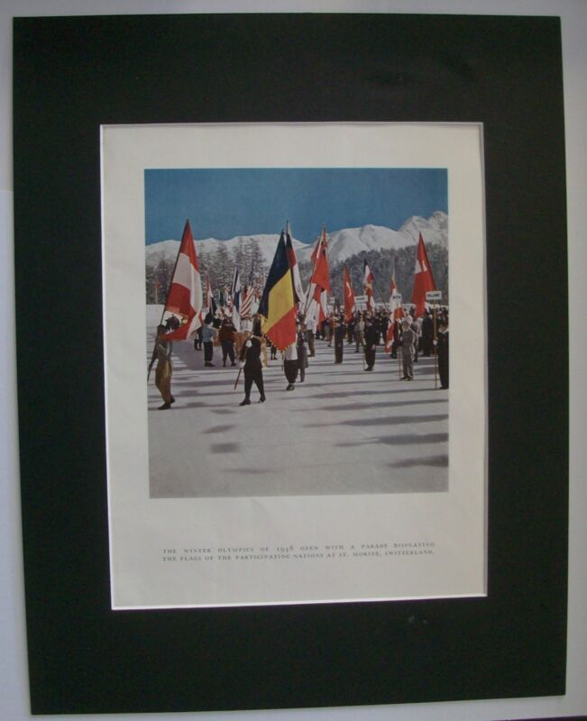 Print 1948 Winter Olympics Switzerland Opening Parade Bookplate 11x14 Matted