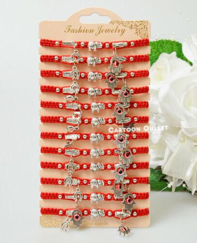 12 Red Pulsera Roja, Medalla De San Benito,St Benedict Medal Bracelet Evil Eye