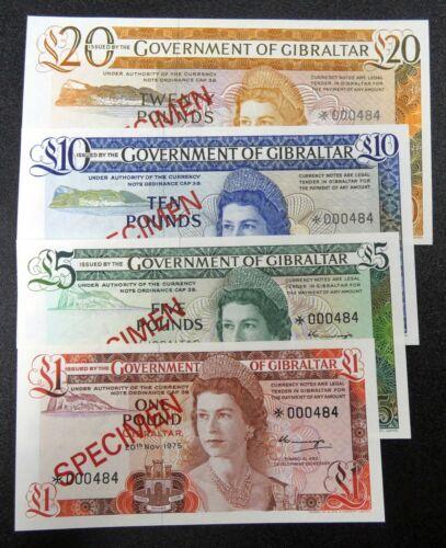 1978 Gibraltar Collector Series Specimen Set 4 Bank Notes UNC Condition -bnp