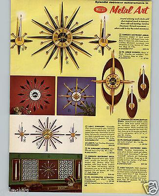 1964 PAPER AD 2 PG Mid Century Modern Welby Metal Art Starburst Wall Clock Sabre