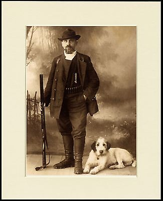 ITALIAN SPINONE MAN WITH DOG AND GUN SEPIA DOG PRINT MOUNTED READY TO FRAME