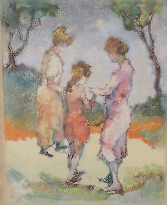 EDNA GASS TROIS FIGURES PAINTING NEW HOPE PENNSYLVANIA IMPRESSIONIST GOLD FRAME