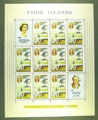 1968 Mint 1/2 Cent Sheet of 10 Cook Island Stamps