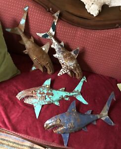 Unique vintage handcrafted recycled metal sharks