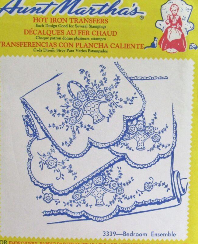 VTG Aunt Marthas 3339 Floral Basket Bedroom Linens Embroidery Transfer Pattern