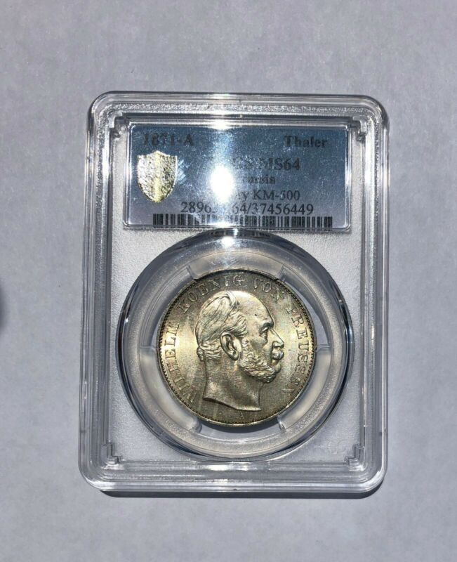 1871-A German States Prussia Silver Victory Thaler PCGS MS-64 Beautiful Coin
