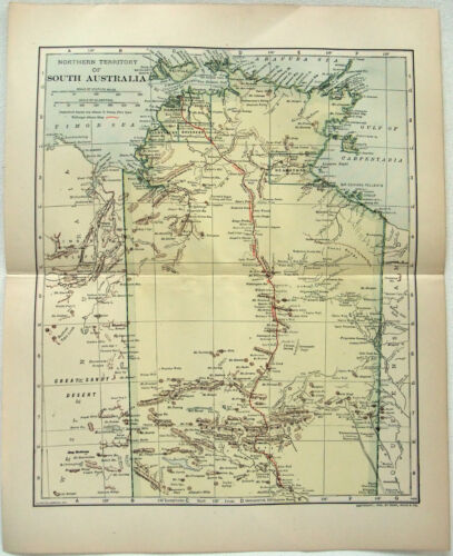 Original 1910 Map of Northern Territories of South Australia by Dodd Mead & Co.