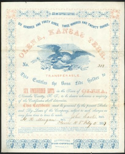 Highly Decorative 1857 Olena, Kansas Territory Share Certificate