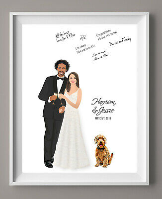Wedding Guest Book Alternative, Canvas Guest Book Idea with Portrait for Fun, (Guest Book Ideas For Wedding)