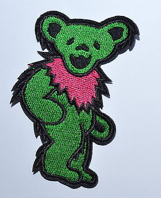 - Green Grateful Dead DANCING BEAR Biker Punk Embroidery Iron on Patch