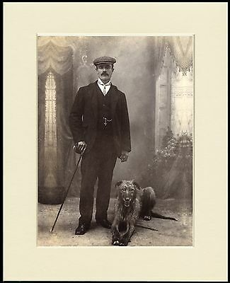 LURCHER DEERHOUND MAN AND HIS DOG GREAT PHOTO PRINT MOUNTED READY TO FRAME