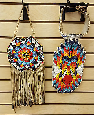 NICE HAND CRAFTED CUT BEADED NATIVE AMERICAN INDIAN CHOKER W/DROP AND PURSE SET!