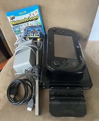 Black Nintendo Wii U Deluxe Console with Nintendoland! Tested! Good Condition!