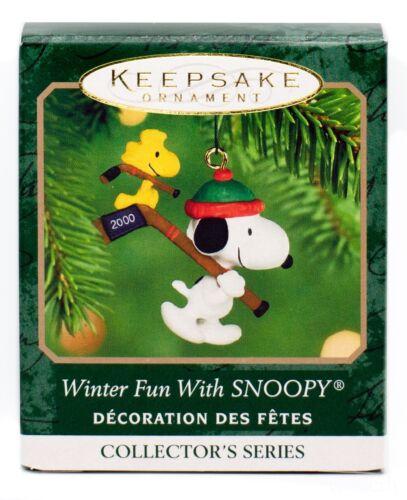 Winter Fun with SNOOPY NEW Hallmark Miniature 2000 Ornament WOODSTOCK Hockey