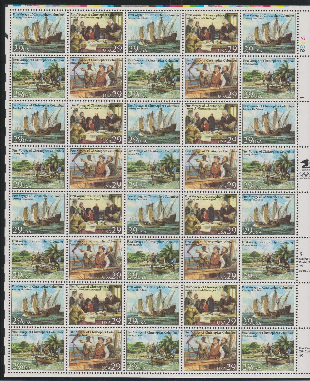 US Voyages Of Christopher Columbus Sheet Of 40 MNH Scott 2620-2623 - $22.94
